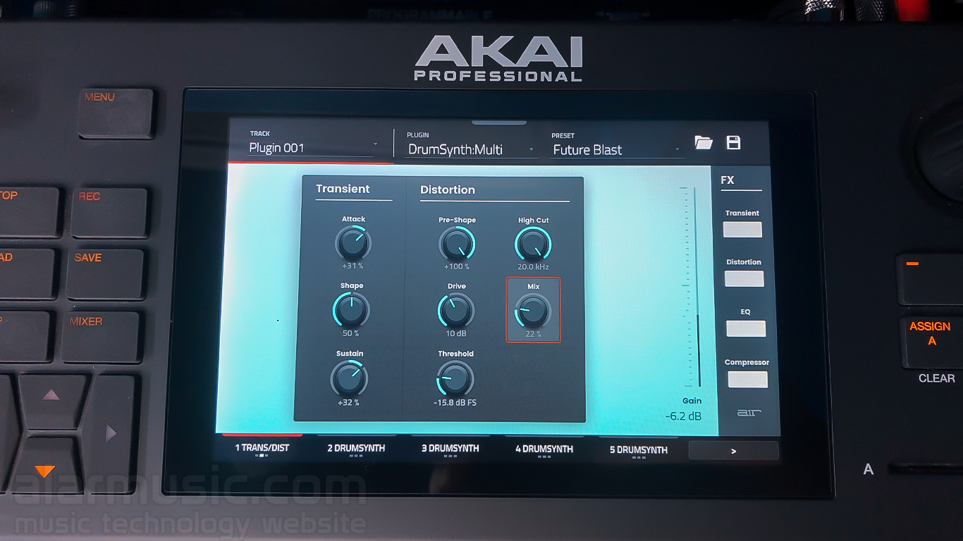 drumsynth akaiforce transient distortion
