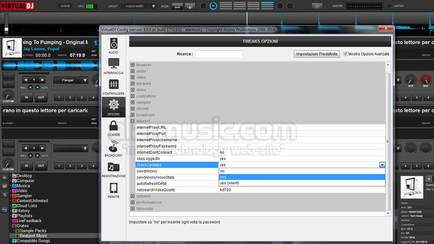 INTERFACCIA UTENTE DI VIRTUAL DJ 8 SOFTWARE DI MIXAGGIO PER DJ BY