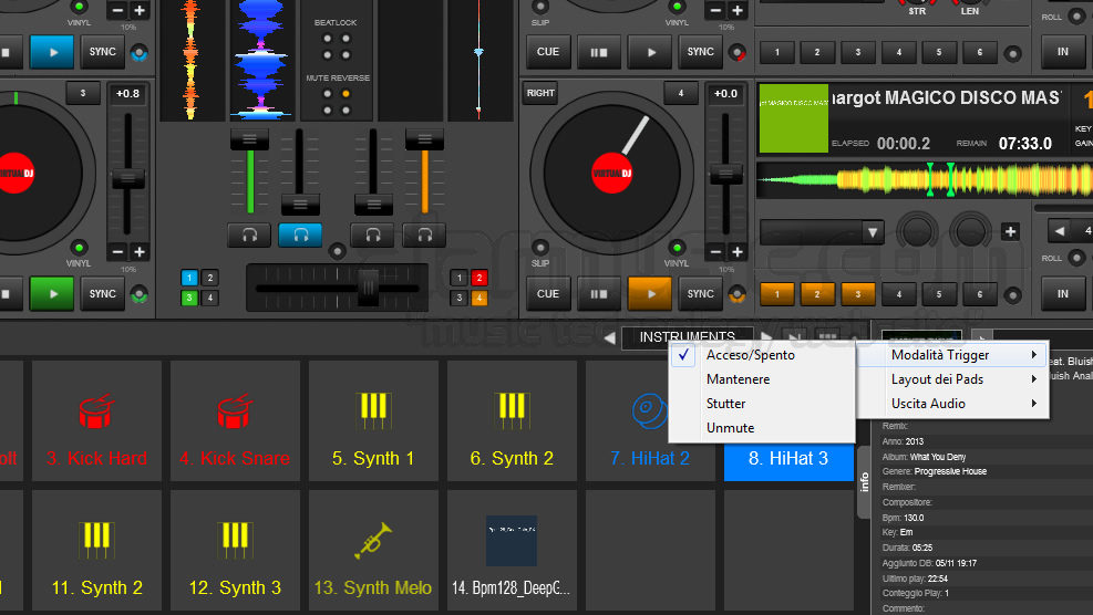 Virtual dj software sampler instruments can not be switched off.