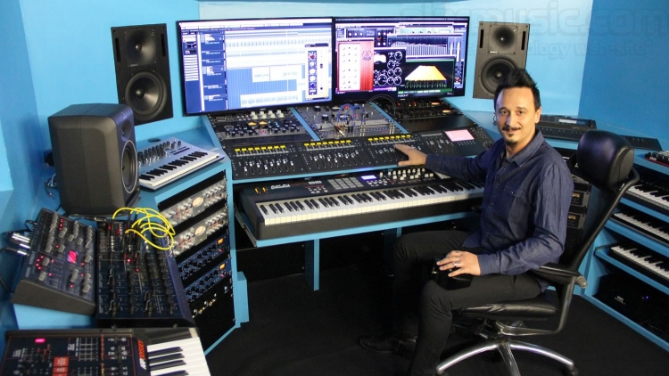 Federico Simonazzi in the Control Room at the Alar's Recording Studio, Parma, Italy